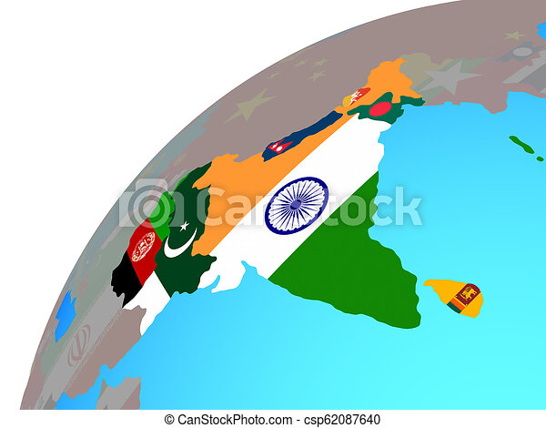 South Asia with flags on globe - csp62087640
