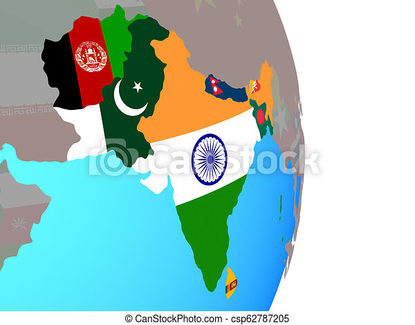 South Asia with flags on globe - csp62787205