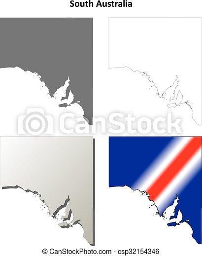 South Australia Map Outline.South Australia Outline Map Set