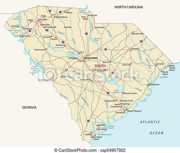 South carolina road map. South carolina road vector map.