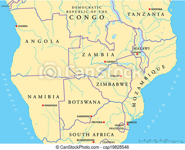 South Central Africa Political Map Political Map Of South Central