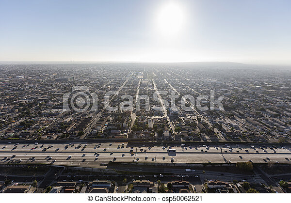 South Central Los Angeles Harbor 110 Freeway Aerial - csp50062521