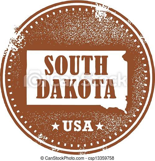 South Dakota USA State Stamp - csp13359758