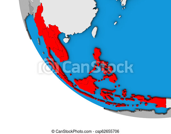 South East Asia on 3D globe - csp62655706