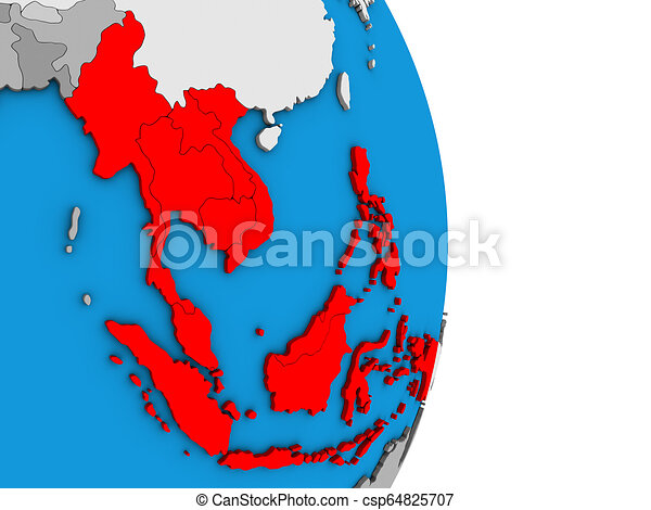 South East Asia on 3D globe - csp64825707