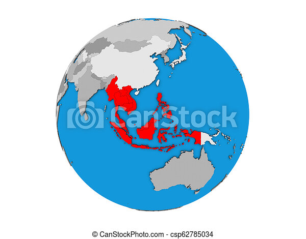 South East Asia on 3D globe isolated - csp62785034