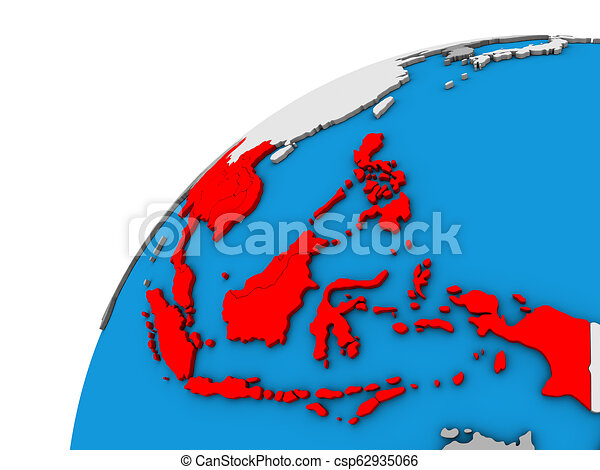 South East Asia on 3D globe - csp62935066