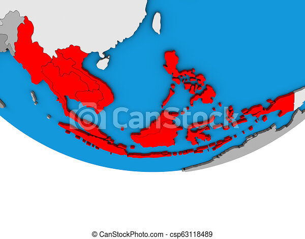 South East Asia on 3D globe - csp63118489