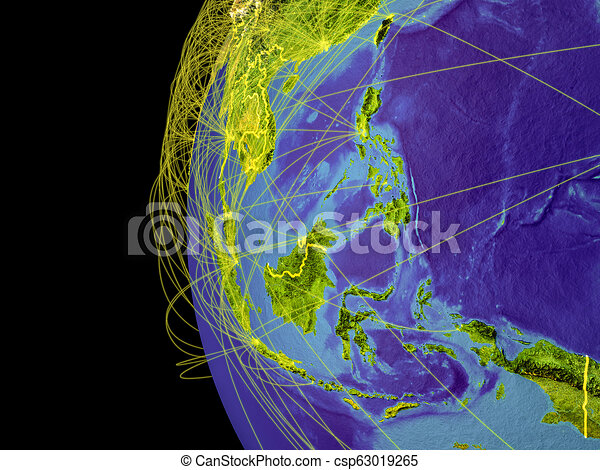 South East Asia on globe from space - csp63019265