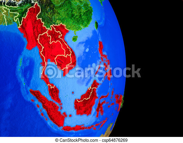 South East Asia on globe from space - csp64876269