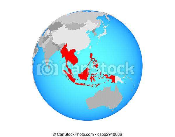 South East Asia on globe isolated - csp62948086