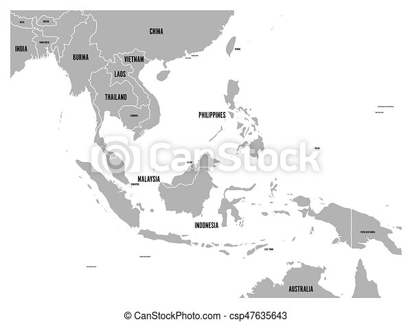 South east asia political map grey land on white background with south east asia political map grey land on white background with black country name labels simple flat vector illustration gumiabroncs Images