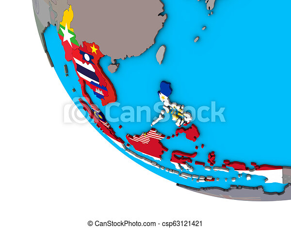 South East Asia with flags on 3D globe - csp63121421