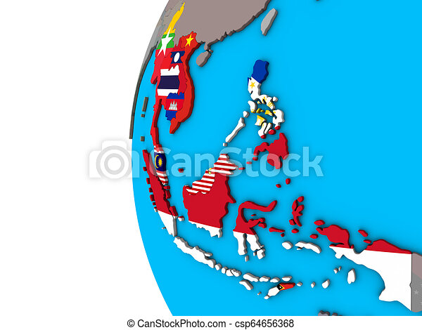 South East Asia with flags on 3D globe - csp64656368