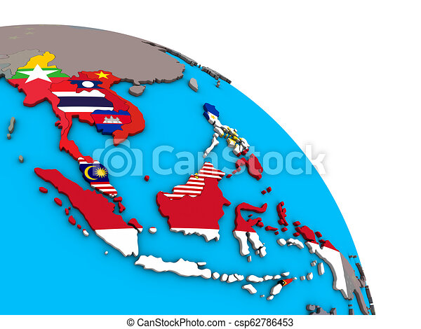 South East Asia with flags on 3D globe - csp62786453