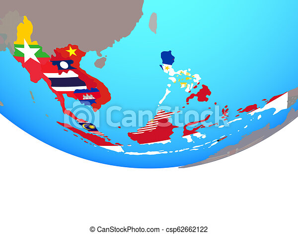 South East Asia with flags on globe - csp62662122