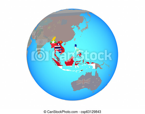South East Asia with flags on globe isolated - csp63129843