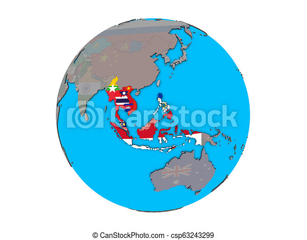 South East Asia with flags on globe isolated - csp63243299