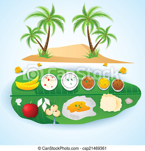 South indian meal for onam festival. Easy to edit vector ...