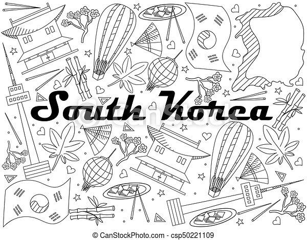 South Korea Line Art Design Vector Illustration