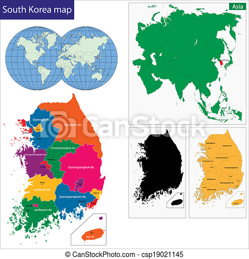 South Korea Map Map Of Administrative Divisions Of South Eps - South korea map vector