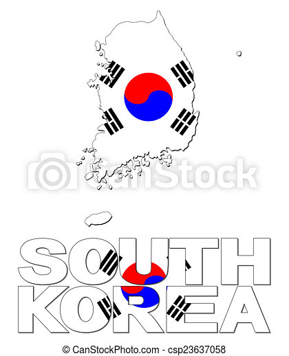 South korea map flag and text illustration. on