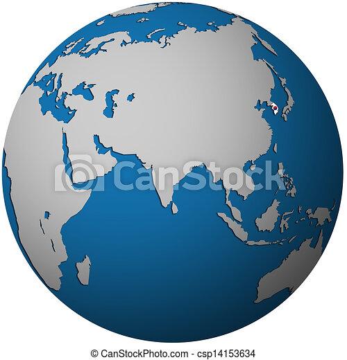 south korea on globe map - csp14153634