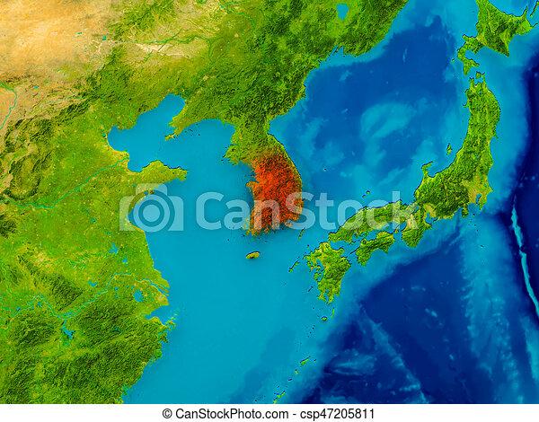 South korea on physical map south korea highlighted in red south korea on physical map stock illustration gumiabroncs Images