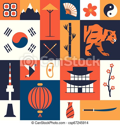 south korea vector illustration korean cultural symbols set of flat icons traditional cuisine and clothes nature and https www canstockphoto com south korea vector illustration korean 67245914 html