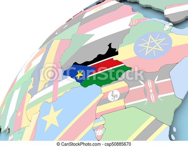 Political Map Of South Sudan.South Sudan On Globe With Flag Map Of South Sudan On Political