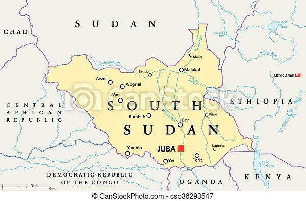 South sudan political map with capital juba national eps vector
