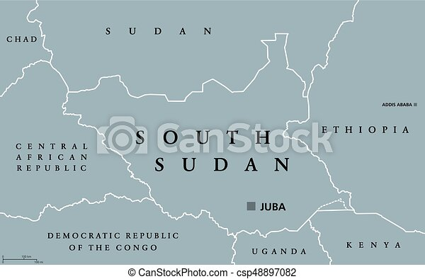 South sudan political map with capital juba and national borders