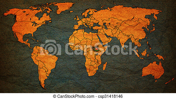 South Sudan Territory On World Map South Sudan Flag On Old Vintage