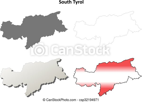 South Tyrol blank outline map set - Austrian version - csp32194971
