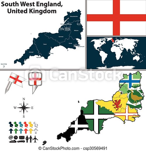 Map Of The South West Of England.Vector Map Of South West England United Kingdom With Regions And Flags