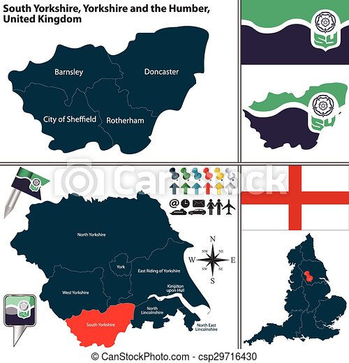South Yorkshire Yorkshire And The Humber Uk Vector Map Of South