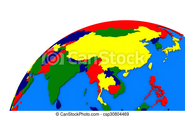 Southeast Asia On Earth Political Map Political Map Of Stock - Earth political map