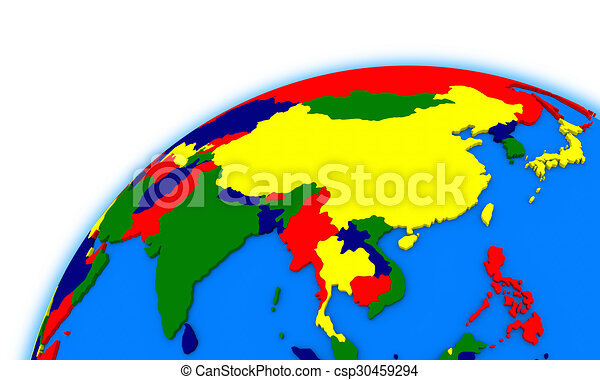 southeast Asia on globe political map - csp30459294