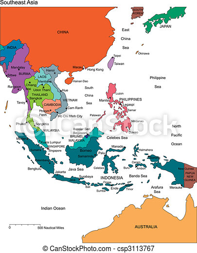 Southeast Asia with Editable Countries, Names - csp3113767