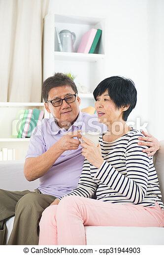 Asian mature couple