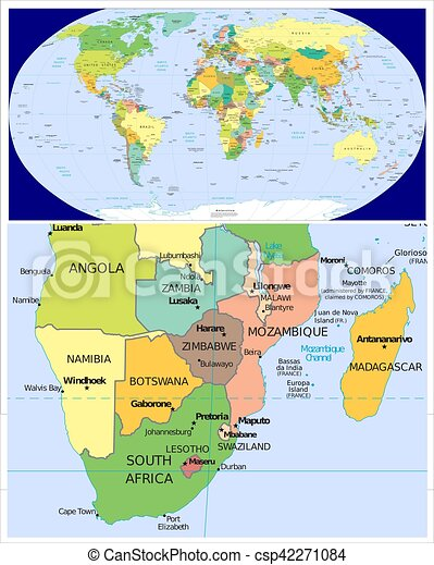 Southern africa and world world map and close up of southern africa southern africa and world csp42271084 gumiabroncs Choice Image