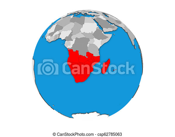 Southern Africa on 3D globe isolated - csp62785063