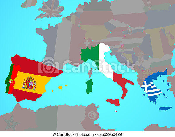 Southern Europe with flags on map