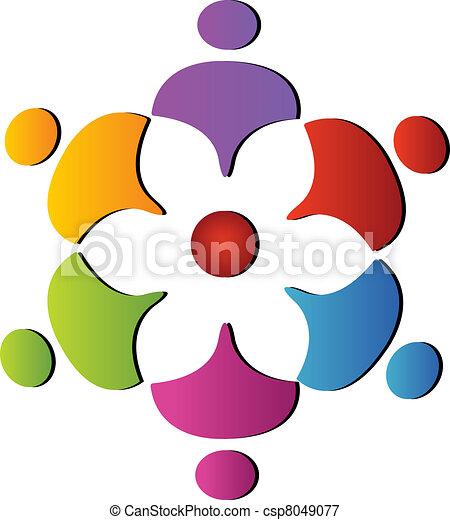 soutien, collaboration, logo, fleur - csp8049077