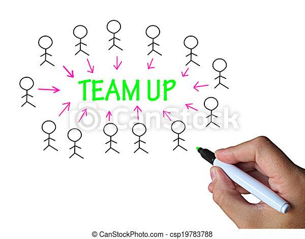 soutien, whiteboard, haut, équipe, collaboration, spectacles - csp19783788