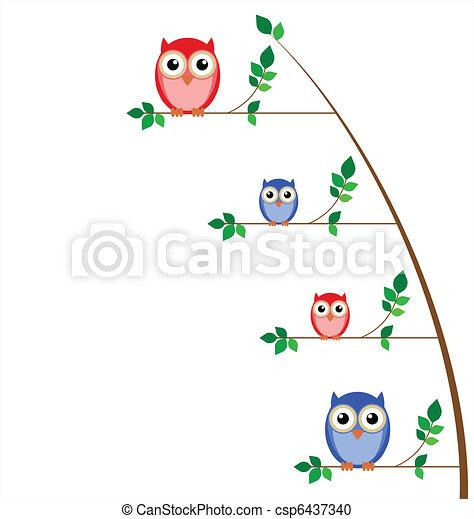 sova, strom, rodina - csp6437340