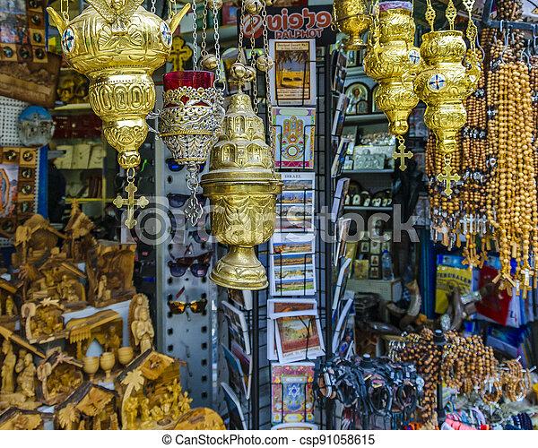 Sovenirs, Street Market, Old Jerusalem - csp91058615
