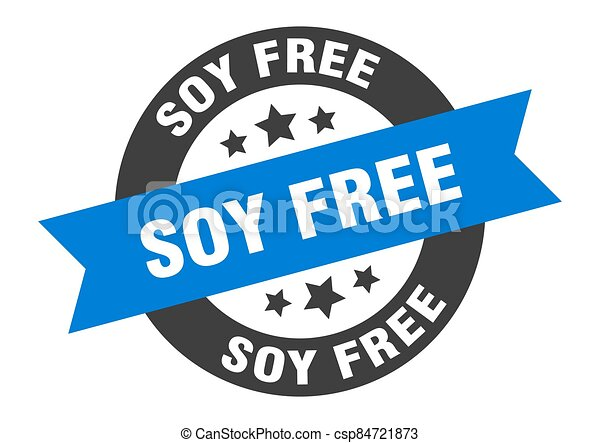 soy free sign. round ribbon sticker. isolated tag - csp84721873