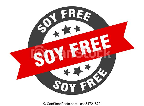 soy free sign. round ribbon sticker. isolated tag - csp84721879