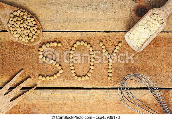 soy word with wood background - csp45939173